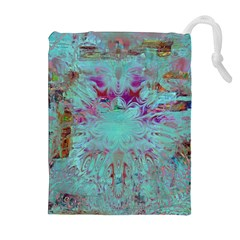 Retro Hippie Abstract Floral Blue Violet Drawstring Pouches (extra Large)