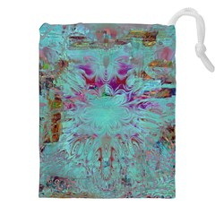Retro Hippie Abstract Floral Blue Violet Drawstring Pouches (XXL)