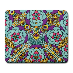 Mariager - Bold blue,purple and yellow flower design Large Mousepad