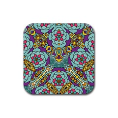Mariager   Bold Blue,purple And Yellow Flower Design Rubber Coaster (square)