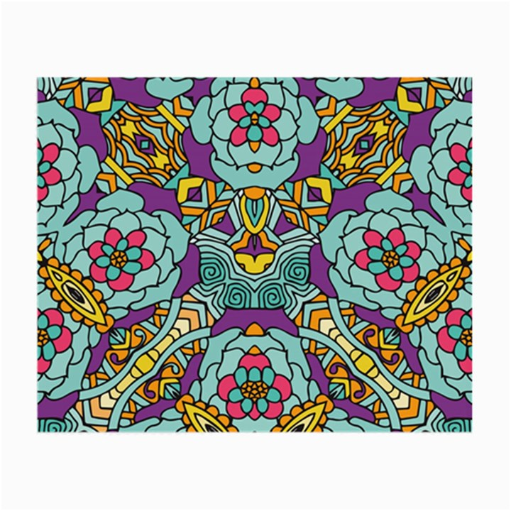 Mariager - Bold blue,purple and yellow flower design Small Glasses Cloth