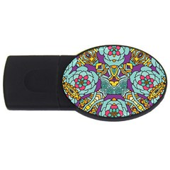 Mariager - Bold blue,purple and yellow flower design USB Flash Drive Oval (4 GB)