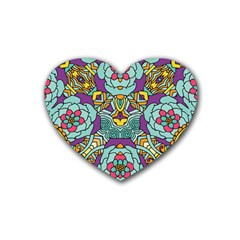 Mariager - Bold blue,purple and yellow flower design Heart Coaster (4 pack)