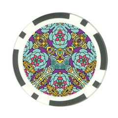 Mariager - Bold blue,purple and yellow flower design Poker Chip Card Guard (10 pack)