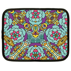 Mariager - Bold blue,purple and yellow flower design Netbook Case (XL)