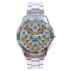 Mariager   Bold Blue,purple And Yellow Flower Design Stainless Steel Analogue Watch