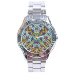Mariager - Bold blue,purple and yellow flower design Stainless Steel Analogue Watch Front