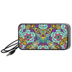 Mariager - Bold blue,purple and yellow flower design Portable Speaker (Black)
