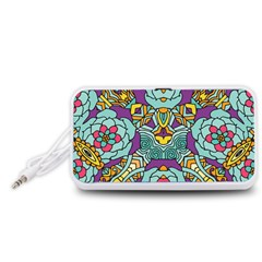 Mariager - Bold blue,purple and yellow flower design Portable Speaker (White)