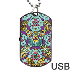 Mariager - Bold blue,purple and yellow flower design Dog Tag USB Flash (One Side)