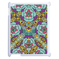 Mariager - Bold blue,purple and yellow flower design Apple iPad 2 Case (White)