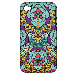Mariager - Bold blue,purple and yellow flower design Apple iPhone 4/4S Hardshell Case (PC+Silicone)