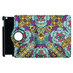 Mariager - Bold blue,purple and yellow flower design Apple iPad 3/4 Flip 360 Case