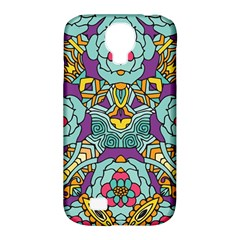 Mariager - Bold blue,purple and yellow flower design Samsung Galaxy S4 Classic Hardshell Case (PC+Silicone)