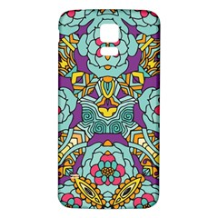 Mariager   Bold Blue,purple And Yellow Flower Design Samsung Galaxy S5 Back Case (white)