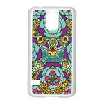 Mariager - Bold blue,purple and yellow flower design Samsung Galaxy S5 Case (White) Front