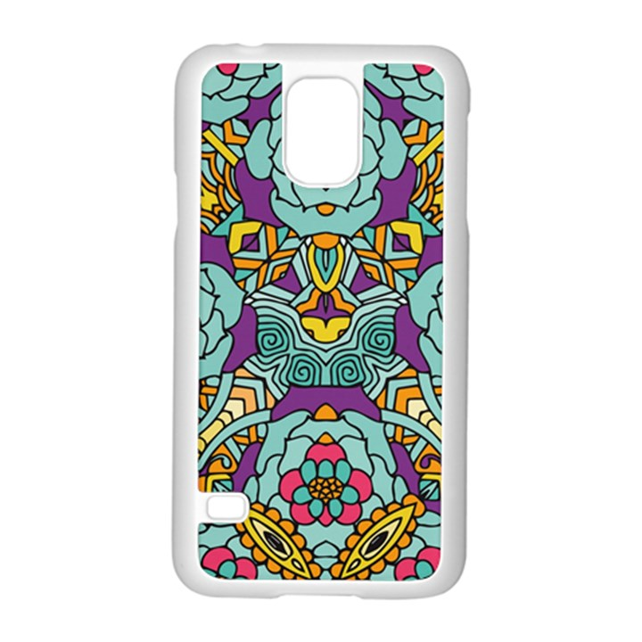Mariager - Bold blue,purple and yellow flower design Samsung Galaxy S5 Case (White)