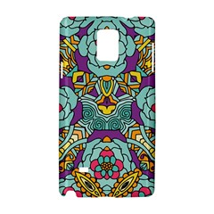 Mariager - Bold blue,purple and yellow flower design Samsung Galaxy Note 4 Hardshell Case