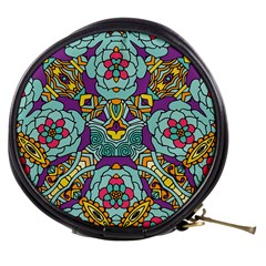 Mariager - Bold blue,purple and yellow flower design Mini Makeup Bag