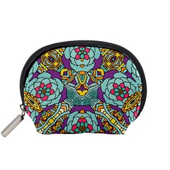 Mariager   Bold Blue,purple And Yellow Flower Design Accessory Pouch (small)