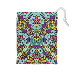 Mariager - Bold blue,purple and yellow flower design Drawstring Pouch (Large)