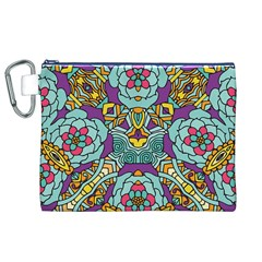 Mariager - Bold blue,purple and yellow flower design Canvas Cosmetic Bag (XL)