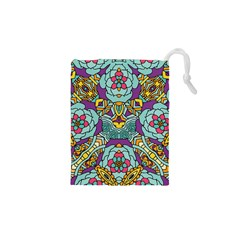 Mariager   Bold Blue,purple And Yellow Flower Design Drawstring Pouch (xs)
