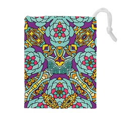 Mariager - Bold blue,purple and yellow flower design Drawstring Pouch (XL)