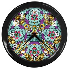 Mariager - Bold blue,purple and yellow flower design Wall Clock (Black)