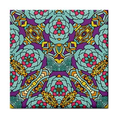 Mariager - Bold blue,purple and yellow flower design Face Towel
