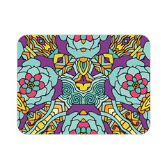 Mariager - Bold blue,purple and yellow flower design Double Sided Flano Blanket (Mini)