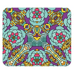 Mariager - Bold blue,purple and yellow flower design Double Sided Flano Blanket (Small)