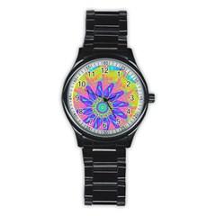 Neon Flower Sunburst Pinwheel Stainless Steel Round Watch