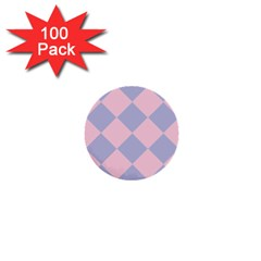 Harlequin Diamond Argyle Pastel Pink Blue 1  Mini Buttons (100 pack)