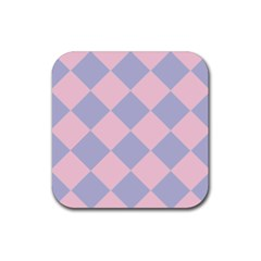 Harlequin Diamond Argyle Pastel Pink Blue Rubber Square Coaster (4 pack)