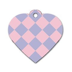 Harlequin Diamond Argyle Pastel Pink Blue Dog Tag Heart (One Side)