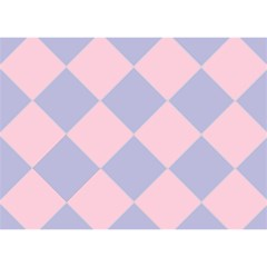 Harlequin Diamond Argyle Pastel Pink Blue Birthday Cake 3D Greeting Card (7x5)