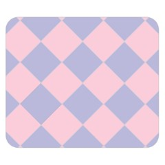 Harlequin Diamond Argyle Pastel Pink Blue Double Sided Flano Blanket (Small)