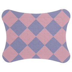 Harlequin Diamond Argyle Pastel Pink Blue Jigsaw Puzzle Photo Stand (bow)