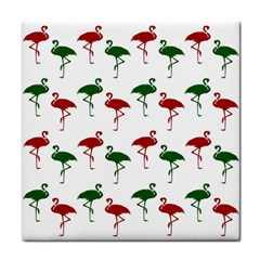 Flamingos Christmas Pattern Red Green Tile Coaster