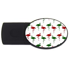 Flamingos Christmas Pattern Red Green USB Flash Drive Oval (4 GB)