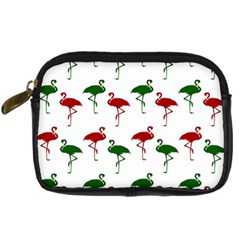 Flamingos Christmas Pattern Red Green Digital Camera Leather Case