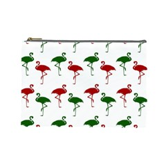 Flamingos Christmas Pattern Red Green Cosmetic Bag (Large)