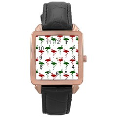 Flamingos Christmas Pattern Red Green Rose Gold Leather Watch