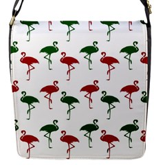 Flamingos Christmas Pattern Red Green Flap Closure Messenger Bag (S)