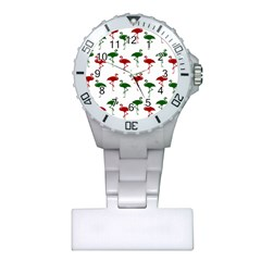 Flamingos Christmas Pattern Red Green Plastic Nurses Watch