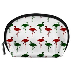 Flamingos Christmas Pattern Red Green Accessory Pouch (Large)