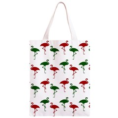 Flamingos Christmas Pattern Red Green Classic Light Tote Bag