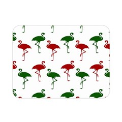 Flamingos Christmas Pattern Red Green Double Sided Flano Blanket (Mini)