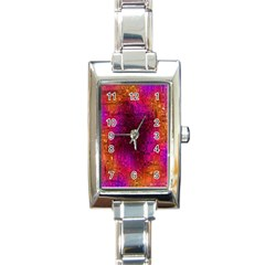 Purple Orange Pink Colorful Rectangle Italian Charm Watch